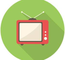 TV icon (flat design with long shadows)